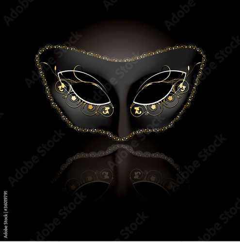 Fotografie, Obraz  Venetian mask with black background