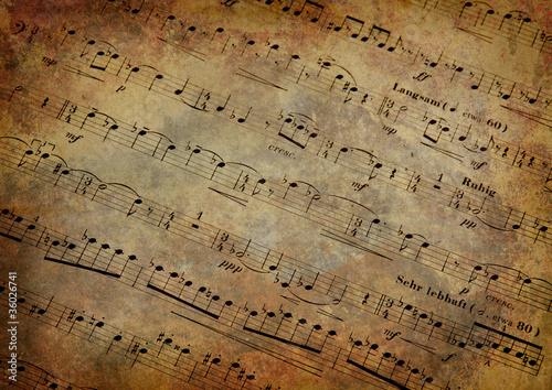 Fototapeta  Musical score with texture grunge