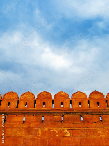 Walls of Red Fort at sunset, in New Delhi, India