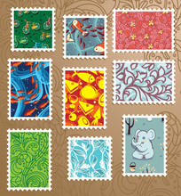 Collection Of Bright Floral Stamps