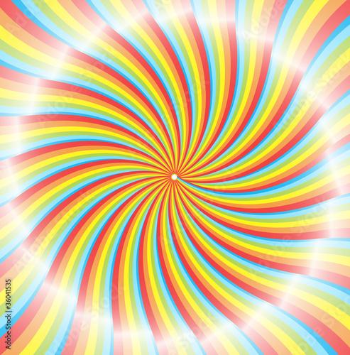 Spoed Foto op Canvas Psychedelic Shiny Rainbow Sunburst