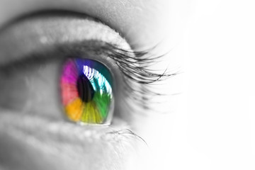 œil de femme isolé sur fond blanc,  vue de profil, iris multicolore arc-en-ciel,  concept de vision et couleurs