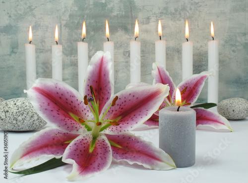 Doppelrollo mit Motiv - Lilienblüte, Kerze, runde Steine