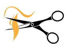 Friseurschere Und Haarsträhnen