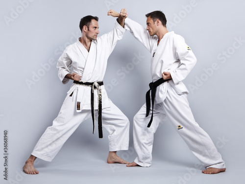 Foto-Stoff bedruckt - Karate vs Taekwondo, Partnertraining 04 (von Tran-Photography)