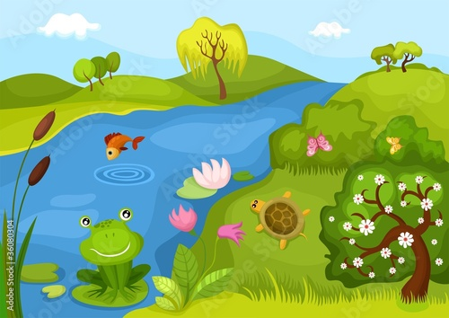 Printed kitchen splashbacks Forest animals card