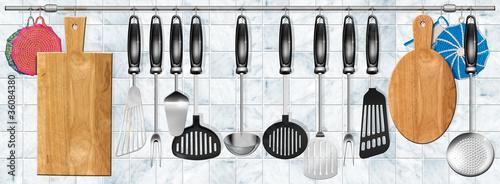 Photo Horizontal set kitchen utensils
