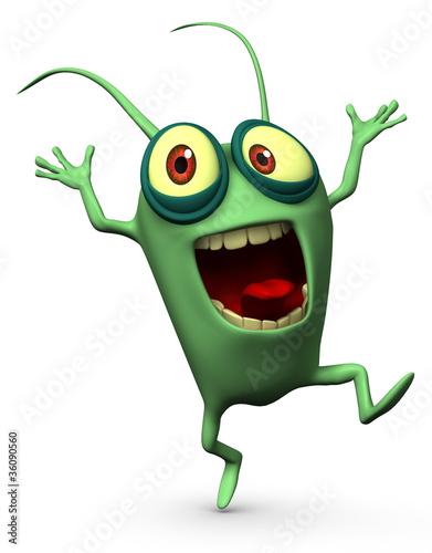 Poster de jardin Doux monstres happy green computer virus