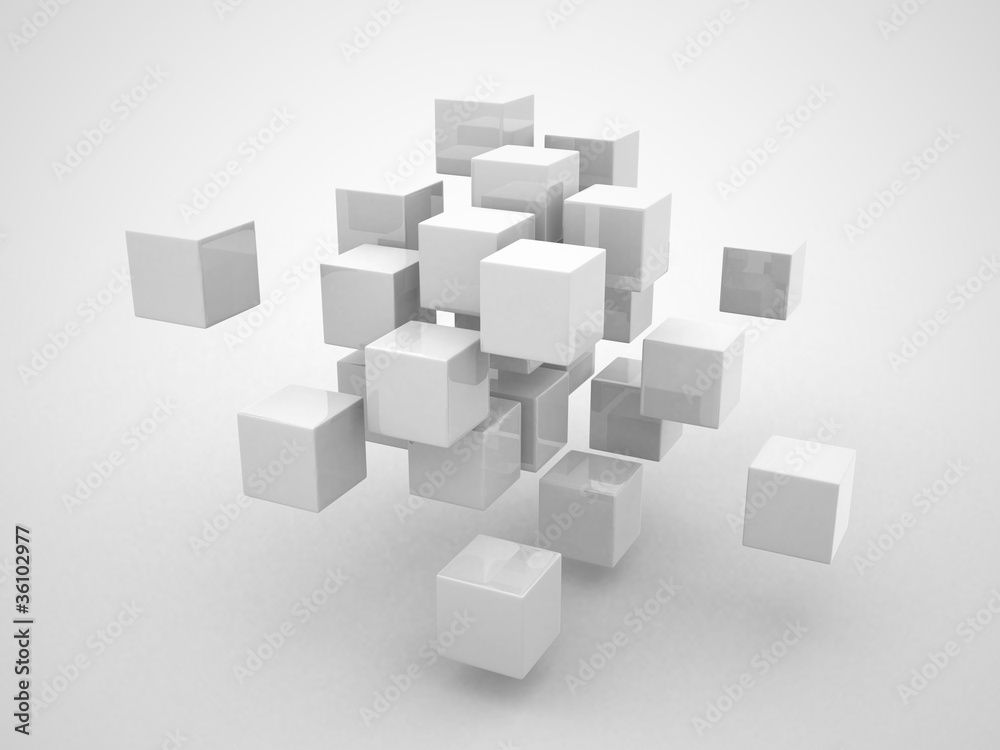 Fototapety, obrazy: Abstract geometric shapes from cubes