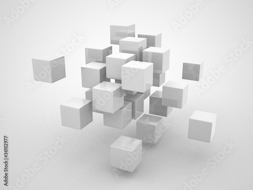 Fototapeta Abstract geometric shapes from cubes obraz