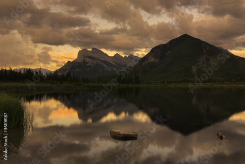 Aluminium Prints Vermillion Lake Sunset