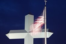 Cross In Effingham With An American Flag