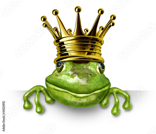 Frog prince with gold crown holding a blank sign Canvas Print