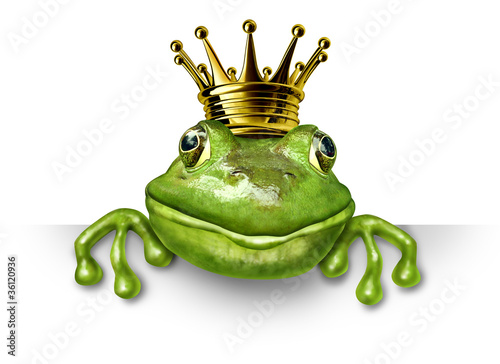Fotografie, Obraz  Frog prince with small gold crown