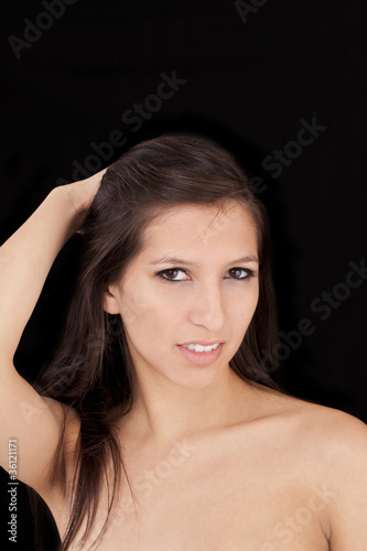 Fotografia, Obraz  Attracive young woman bare shoulder portrait dark hair