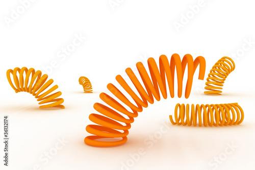 Fotografie, Obraz  Orange springs on a white background