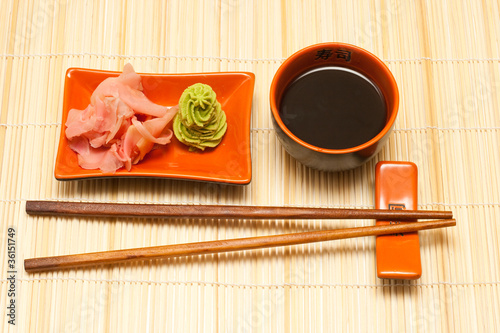 Sushi dishes set with wasabi and ginger Canvas Print