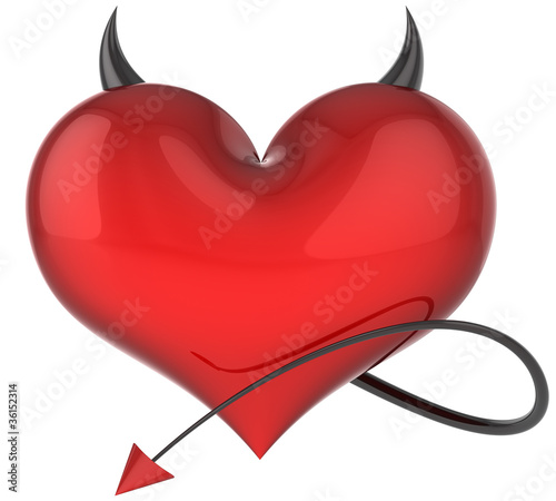 Leinwand Poster Heart of Devil love red with black sharp horns and a tail
