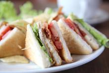 Club Sandwich With Coffee On W...