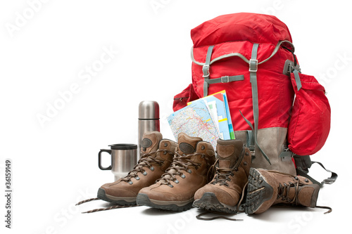 Fotografia hiking equipment. Concept for family hiking