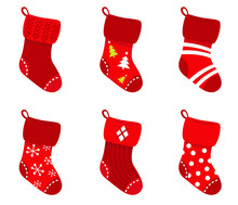 Red Retro Christmas Socks Collection Isolate On White..