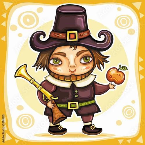 Thanksgiving happy cartoon pilgrim man with blunderbuss. Canvas Print