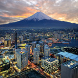 Fototapeta Miasto - Surreal view of Yokohama city and Mt. Fuji