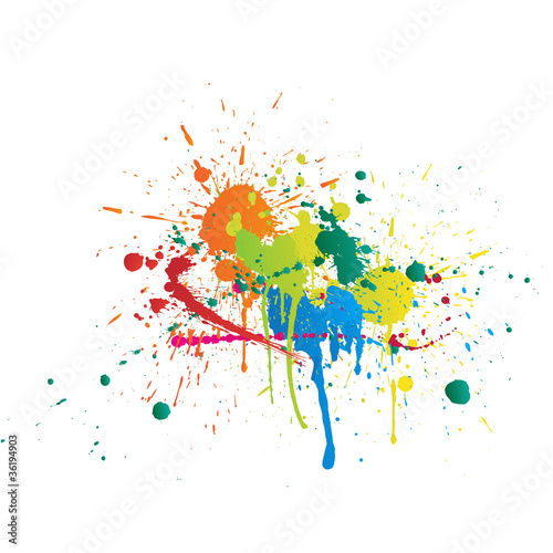 Poster Vormen Color Paint Splashes On White Background
