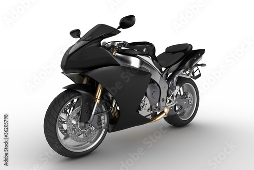 Poster Motocyclette Black motorkibe on white background