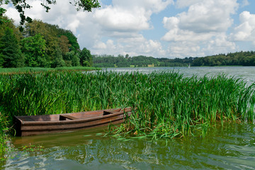 Boat on the lake near the town of Kartuzy. Poland. Kaszuby