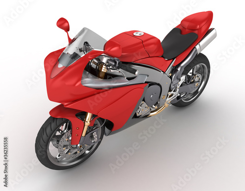 Poster Motocyclette red motorkibe on white background