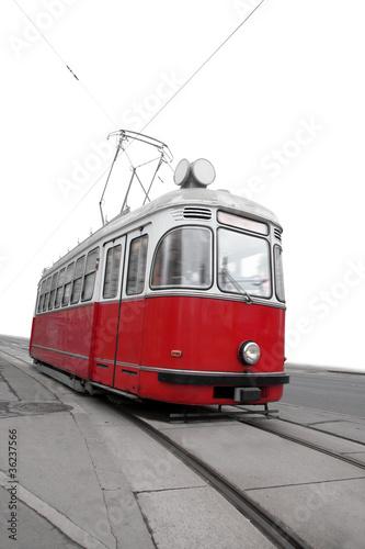 Poster Rouge, noir, blanc Vintage tram