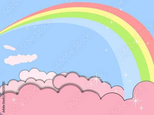 Poster Ciel Rainbow in pink clouds
