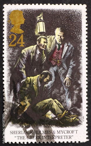 Photo  Postage stamp GB 1993 Sherlock Holmes and Mycroft, The Greek Int