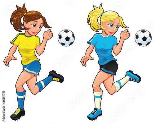 Poster Chambre d enfant Soccer female players. Vector cartoon and isolated characters.