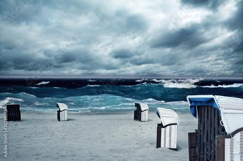 Foto-Schiebegardine Komplettsystem - Stormy Beach (von lassedesignen)