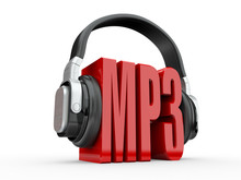 Text MP3 And Handphones. 3d