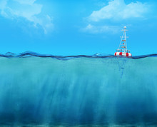 3d Buoy Floating On The Ocean
