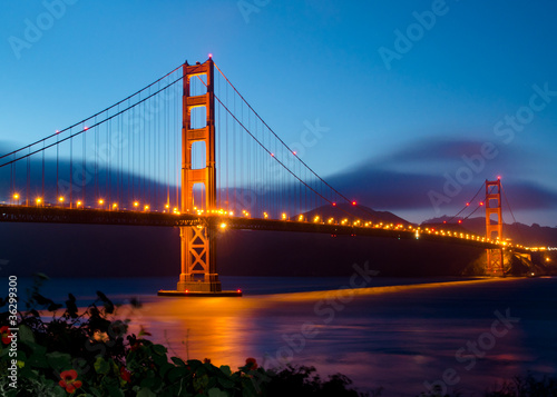 Keuken foto achterwand San Francisco Golden Gate Bridge in San Francisco after sunset