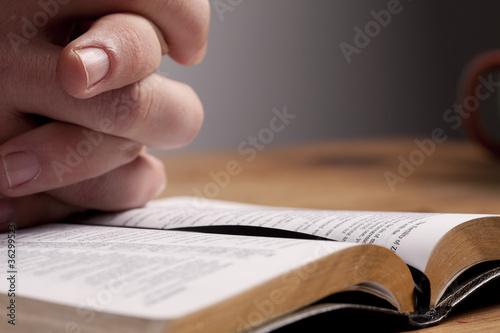Fotografie, Obraz  Praying over Bible