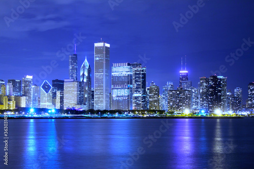 Recess Fitting China Clouds at financial district (night view Chicago)