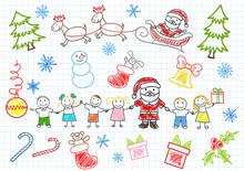 Vector Sketchs - Santa Claus And Children