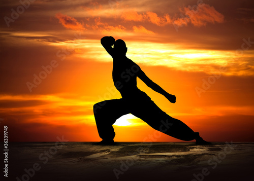 Foto op Canvas Vechtsport Martial Arts Fitness at Sunset
