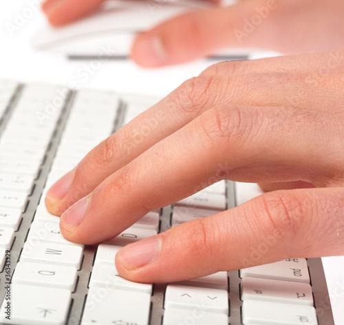 Fototapety, obrazy: man typing the keyboard