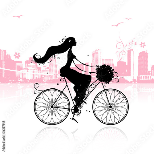 Foto op Canvas Bloemen vrouw Girl with floral bouquet cycling in the city