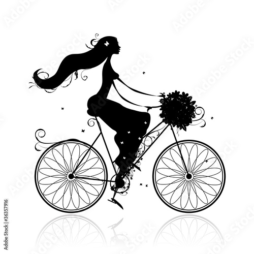 Foto op Canvas Bloemen vrouw Girl with floral bouquet cycling