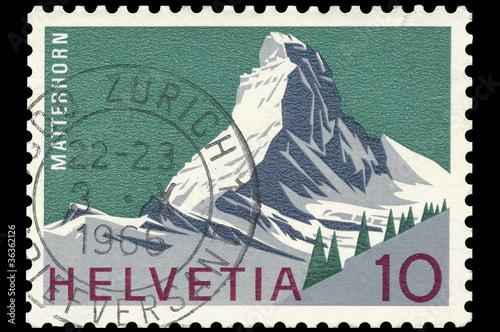 Fotografie, Obraz  Swiss post stamp showing famous Matterhorn mountain