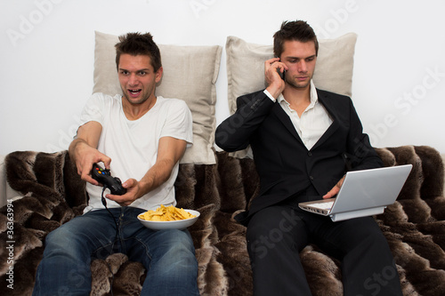 Photo  Gamer and Businessman side by side