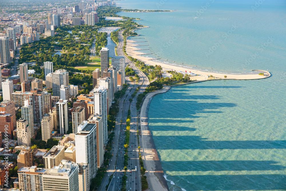Fototapeta View of the Chicago from Hancock Center