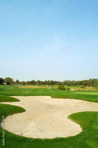 Deurstickers Golf Golf course sand trap